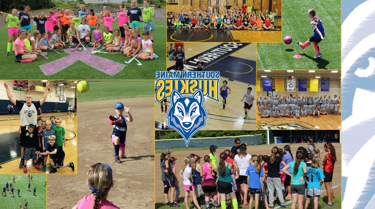 A collage of sports camp images