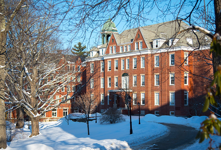 Robie Andrews Hall on our Gorham campus after a fresh snowfall